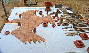 Kuru Kingdom - Modern replica of utensils and falcon shaped altar used for Agnicayana, an elaborate srauta ritual from the Kuru period.