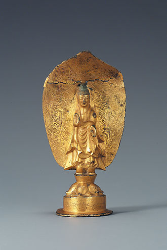 Mudra - Korea's National Treasure 119. The right hand shows abhaya mudra while the left is in the varada mudra.