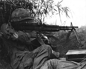 Battle of An Ninh - Sergeant of 502nd Infantry firing an M60 machine gun