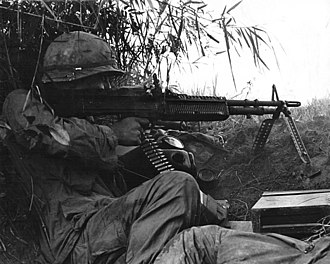 Battle of An Ninh - Sergeant of 502nd Infantry firing an M60 machine gun