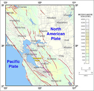 Hayward Fault Zone - USGS map showing faults that span the Pacific–North America plate boundary.