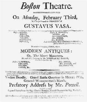 Federal Street Theatre - Opening performance, February 3, 1794