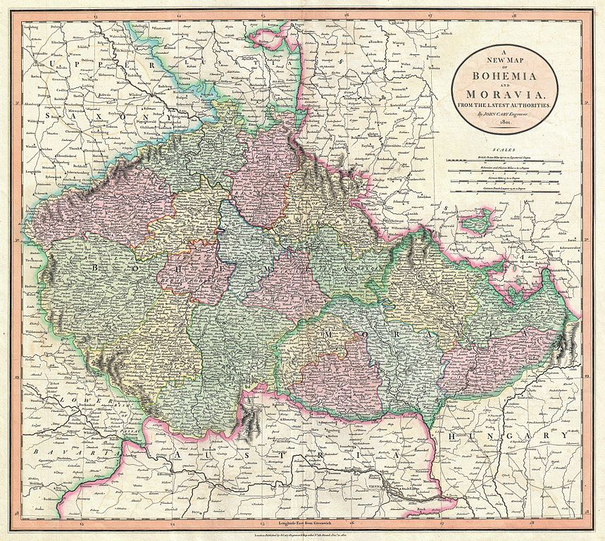 File:1801 Cary Map of Bohemia and Moravia ( Czech Republic ...