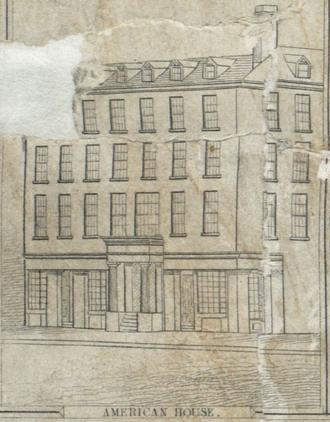 American House (Boston) - Image: 1835 American House Boston Bewick Co Boyton Boston map detail