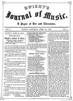 Dwight's Journal of Music - Issue no.1, 1852