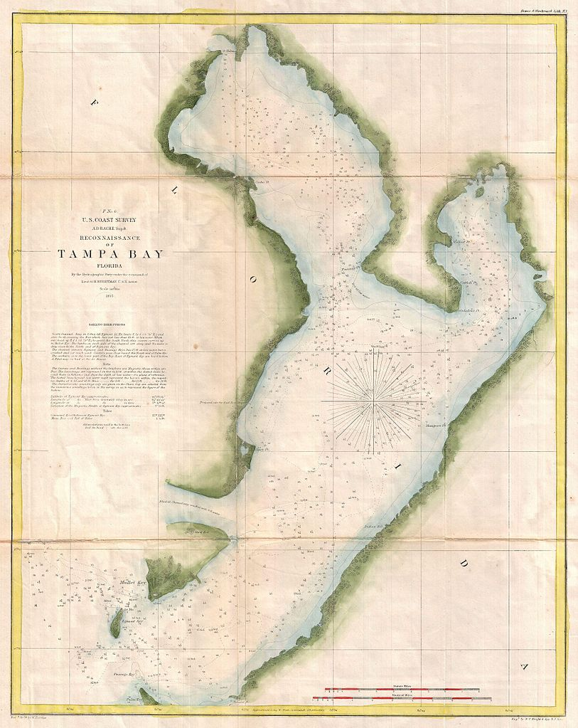 file 1855 u s coast survey chart or map of tampa bay florida geographicus tampabay uscs. Black Bedroom Furniture Sets. Home Design Ideas