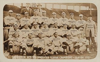 1915 Boston Red Sox season - Image: 1915 Boston Red Sox with Rookie Babe Ruth