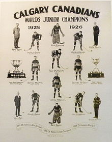 "A collage of 14 players and coaches and two championship trophies under the headline text ""Calgary Canadians World's Junior Champions 1925 1926""."