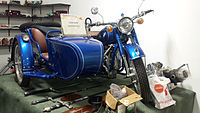 1938 BMW motorcycle with side car (15209454419).jpg