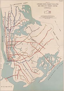 A map for a 1939 plan for expansion, which included building the Second Avenue Subway