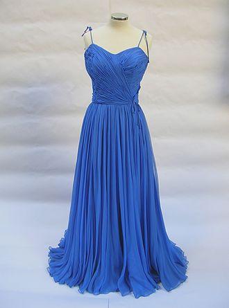 Jean Dessès - Blue chiffon evening dress by Jean Dessès, Paris, 1950. PFF collection.
