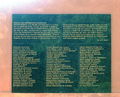Plaque honoring the women of the Puerto Rican Nationalist Party 1950 PRNationalist Women.JPG