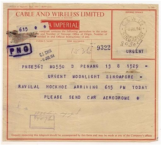 1954 telegram Cable & Wireless