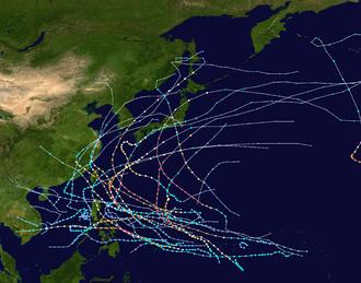 1959 Pacific typhoon season - Image: 1959 Pacific typhoon season summary map