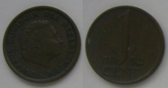 One cent coin (Netherlands) - Image: 1 Cent 1952