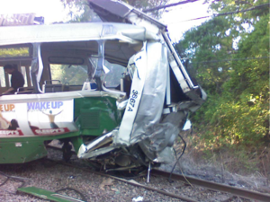 Wreckage of Green Line car #3667 after the accident.