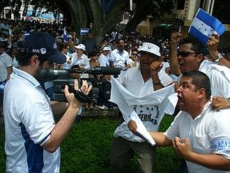 2009 Honduran coup d'état - 29 June. Demonstrations were held, expressing opposition to Zelaya and Chávez.