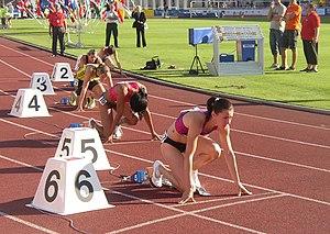Denisa Rosolová - Denisa Rosolová (track 5) in starting blocks at the 2010 Josef Odložil Memorial.
