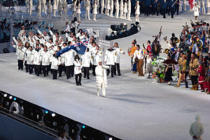 Australia at the 2010 Winter Olympics - The athletes entering the stadium during the opening ceremonies.