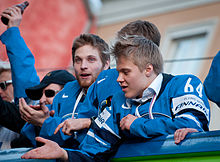 2011 IIHF World Championship gold medal celebrations in Helsinki – Mikael Granlund.jpg
