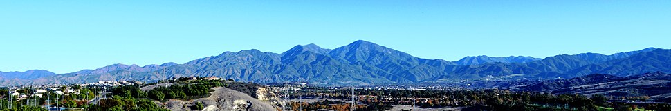 The Santa Ana Mountains as seen from Mission Viejo (December 2013) - The two highest peaks, Modjeska (left) and Santiago (right), form Saddleback.