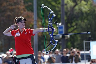 Compound bow - Archer Erika Jones shooting a compound bow.