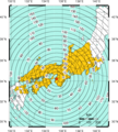 2013 Northern Wakayama Earthquake Alarm Regions Map.png