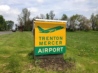 Trenton–Mercer Airport - Sign at the main airport entrance