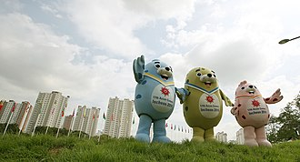 2014 Asian Games - The Spotted Seals, the Games' mascots. Named from left to right: Chumuro, Vichuon and Barame. The mascot statues situated at the Incheon Asiad Park.