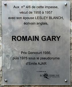 Photo of Lesley Blanch and Romain Gary white plaque