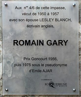 Romain Gary - Plaque to Gary and his first wife Lesley Blanch in Roquebrune-Cap-Martin on the Côte d'Azur; they lived there in 1950–57.
