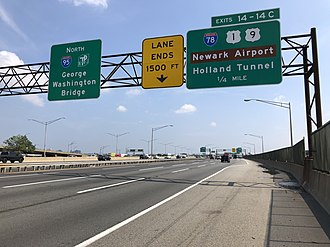 New Jersey Turnpike - New Jersey Turnpike (I-95) northbound approaching the I-78/US 1–9 interchange in Newark