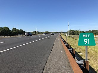 Brick Township, New Jersey - The northbound Garden State Parkway in Brick Township