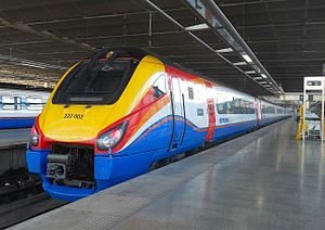 British Rail Class 222 - Seven car length Class 222 No. 222003 at London St Pancras