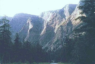 Bridge River - East Wall of Bridge River Canyon, near Terzaghi Dam, from Road 40