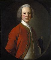 Lord Loudoun in a half-length portrait.  Painted when he was about 45, he faces the painter, wearing a red coat over a white vest and a white shirt with lace on the front.  His body is turned three quarters, so only his right arm is partially visible.  He appears to be wearing a powdered wig.