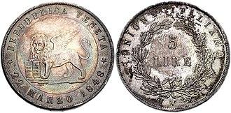 Republic of San Marco - Five Venetian lire from the revolutionary republic