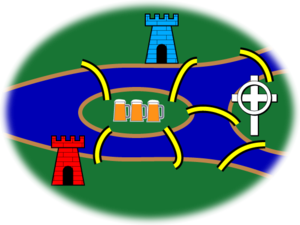 Seven Bridges of Königsberg - A variant with red and blue castles, a church and an inn.