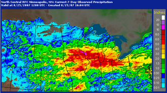 2007 Midwest flooding - Radar estimated rainfall totals from August 18–25, 2007.