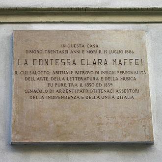 """Clara Maffei - Inscription on the palazzo which hosted the """"Salotto Maffei""""."""