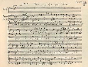 Alfonso und Estrella - Autograph vocal score, Aria Adolfo