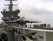 An A-6E Intruder prepares for launch aboard USS Enterprise.