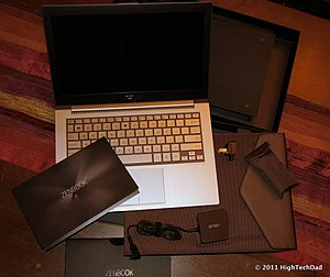 Zenbook - A UX31E with its accessories laid out