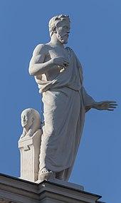 Herodot von Carl Kundmann auf der Attika des Naturhistorischen Museums in Wien (Quelle: Wikimedia)