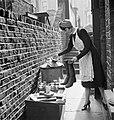 A British housewife puts out items for salvage during 1942. D7560.jpg