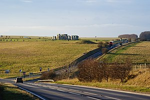 A344 road (England) - A344 passing close to Stonehenge prior to closure; A303 in foreground