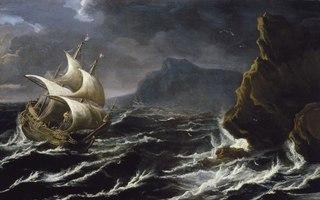 A Dutch Ship Running onto a Rocky Coast