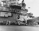 A F6F-3 Hellcat from VF-5 makes condensation rings aboard USS Yorktown (CV-10), 20 November 1943 (80-G-204747-A).jpg