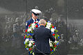 A Korean War veteran, front, places a wreath during an event marking the 60th anniversary of the Korean War armistice agreement July 27, 2013, at the Korean War Veterans Memorial in Washington, D.C 130727-A-LL711-003.jpg