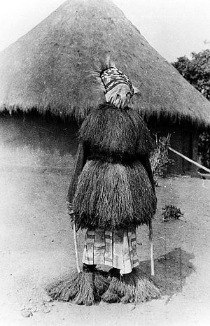 Religion in Liberia - A masked Poro dancer.